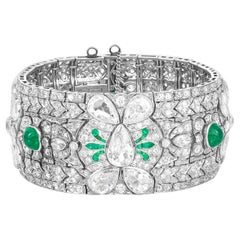 Art Deco Diamond and Emerald Bracelet