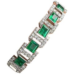 Art Deco Diamond and Emerald Bracelet, French