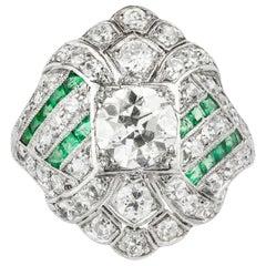 Art Deco Diamond and Emerald Dress Ring