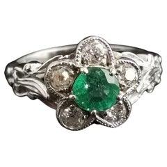 Art Deco Diamond and Emerald Flower Ring, Platinum Engagement Ring