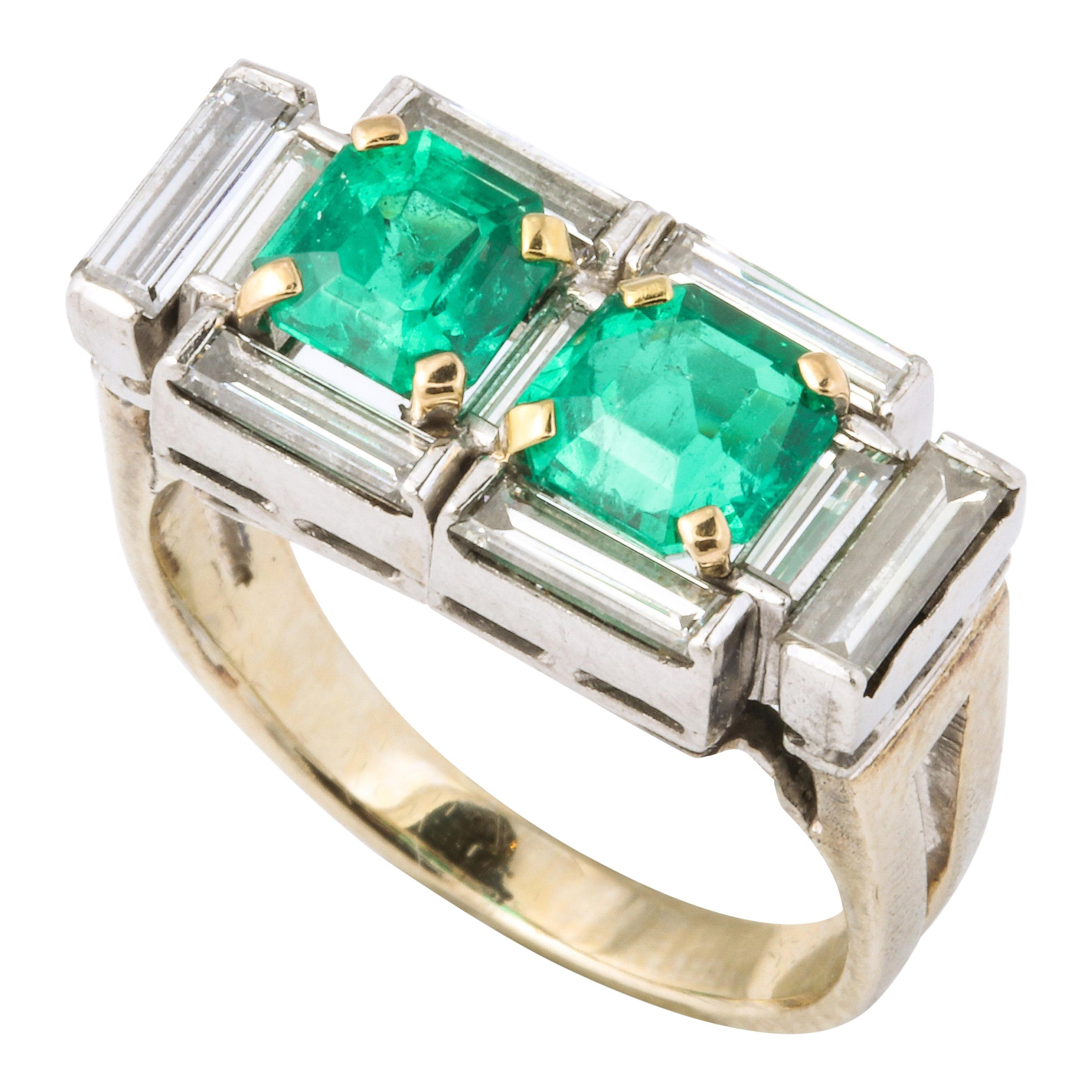 Art Deco Diamond and Emerald Gold and Platinum Ring