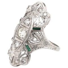 Art Deco Diamond and Emerald Grand Dinner Ring 18 Karat White Gold