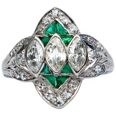Art Deco Diamond and Emerald Marquise Ring