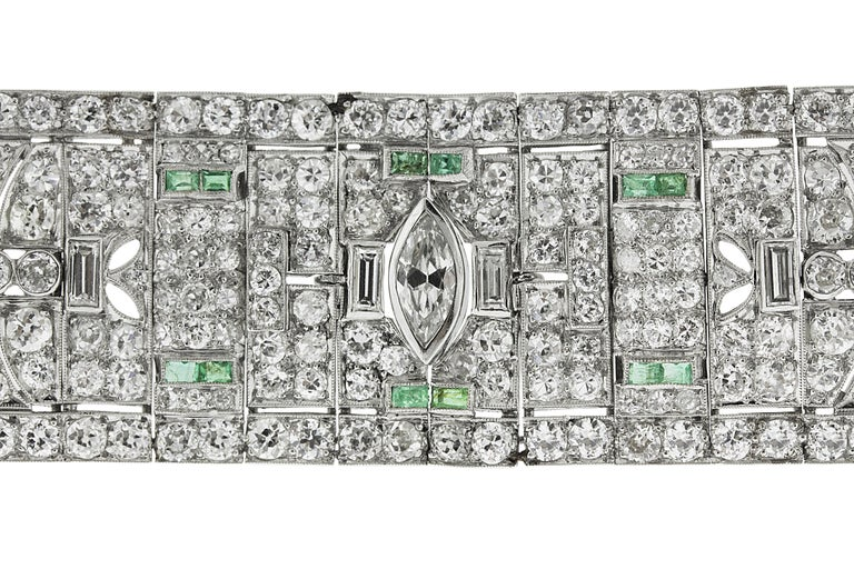 Round Cut Art Deco Diamond and Emerald Platinum Bracelet For Sale