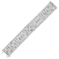 Art Deco Diamond and Emerald Platinum Bracelet