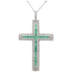Art Deco Diamond and Emerald Platinum Cross