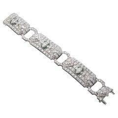 Art Deco Diamond and Emerald Platinum Link Bracelet