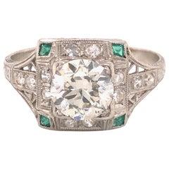 Art Deco Diamond and Emerald Platinum Ring 1.75 Carat