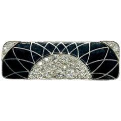 Art Deco Diamond and Enamel Brooch