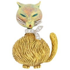 Art Deco Diamond and Enamel Cat Brooch, circa 1960s