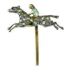 Art Deco Diamond and Enamel Jockey Stickpin