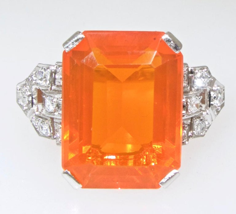 Art Deco Diamond and Fire Opal Platinum Ring, circa 1930 In Excellent Condition For Sale In Aspen, CO