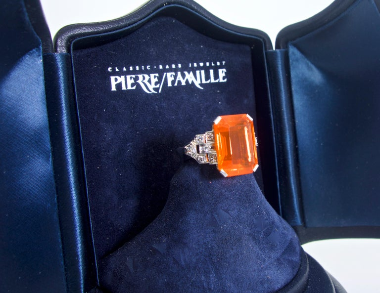 Women's or Men's Art Deco Diamond and Fire Opal Platinum Ring, circa 1930 For Sale