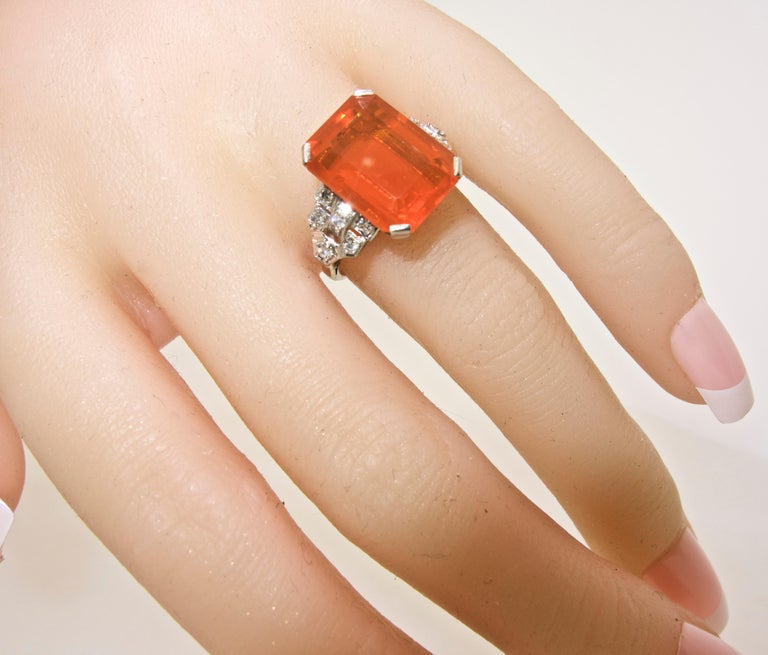 Art Deco Diamond and Fire Opal Platinum Ring, circa 1930 For Sale 1