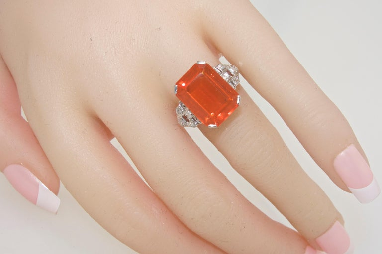 Art Deco Diamond and Fire Opal Platinum Ring, circa 1930 For Sale 2