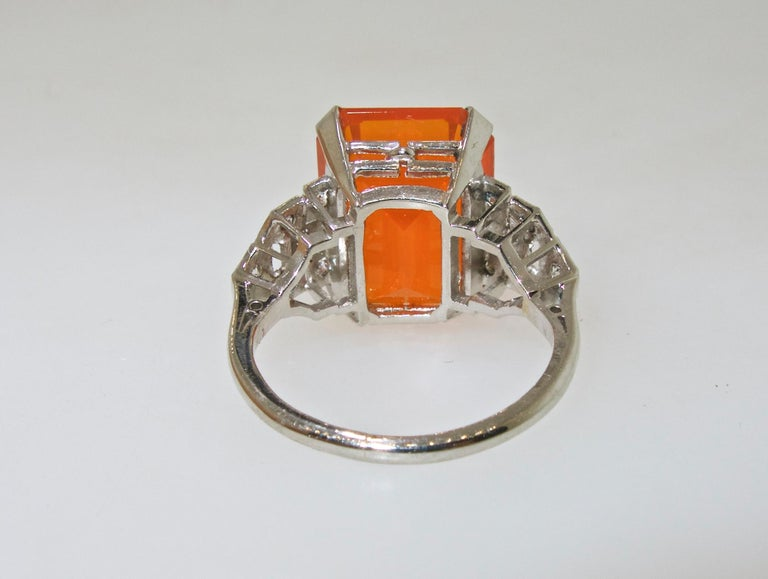 Art Deco Diamond and Fire Opal Platinum Ring, circa 1930 For Sale 3