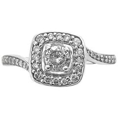 Art Deco Style Diamond and Gold Engagement Ring in White Gold
