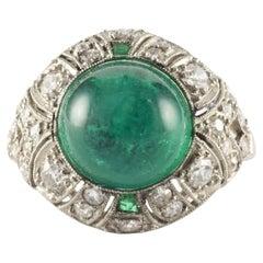 Art Deco Diamond and Green Emerald Ring