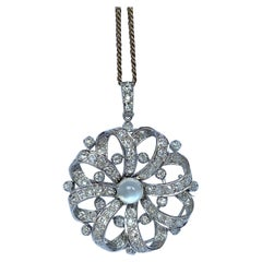 Art Deco Diamond and Moonstone 18 Carat White Gold Pendant and Chain