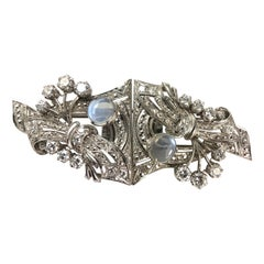 Art Deco Diamond and Moonstone Brooch and Lapel Brooches
