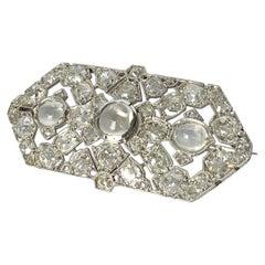 Art Deco Diamond and Moonstone Platinum Brooch
