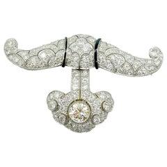 Art Deco Diamond and Onyx Brooch Pendant