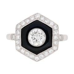 Art Deco Diamant und Onyx Cluster Ring, circa 1930er Jahre