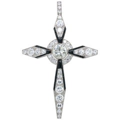 Art Deco Diamond and Onyx Cross Pendant, circa 1920s