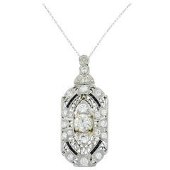 Art Deco Diamond and Onyx Platinum Pendant