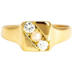 Art Deco Diamond and Pearl 18 Carat Signet Ring