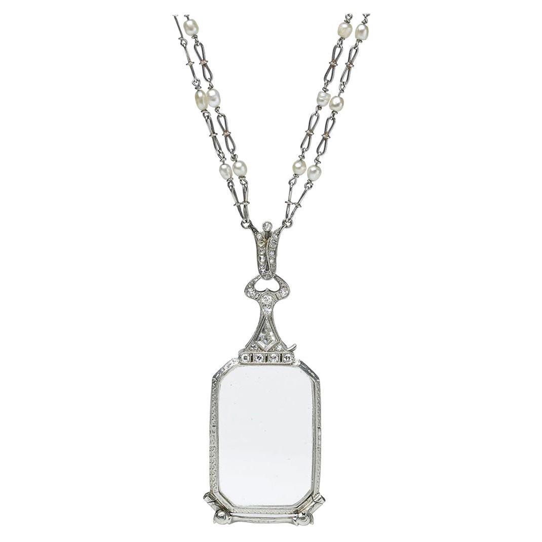 Art Deco Diamond and Pearl Lorgnette and Chain, circa 1930