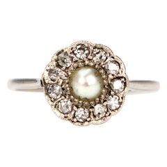 Art Deco Diamond and Pearl Platinum Cluster Ring