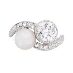 Art Deco Diamond and Pearl Two-Stone Twist Ring, circa 1920s