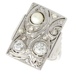 Art Deco Diamond and Pearl White Gold Ring