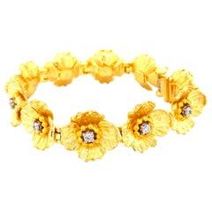 "Art Deco Style Diamond and Platinum 24 Karat Yellow Gold ""Flowers"" Bracelet"