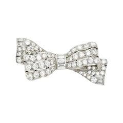 Art Deco Diamond and Platinum Bow Pin, circa 1930s