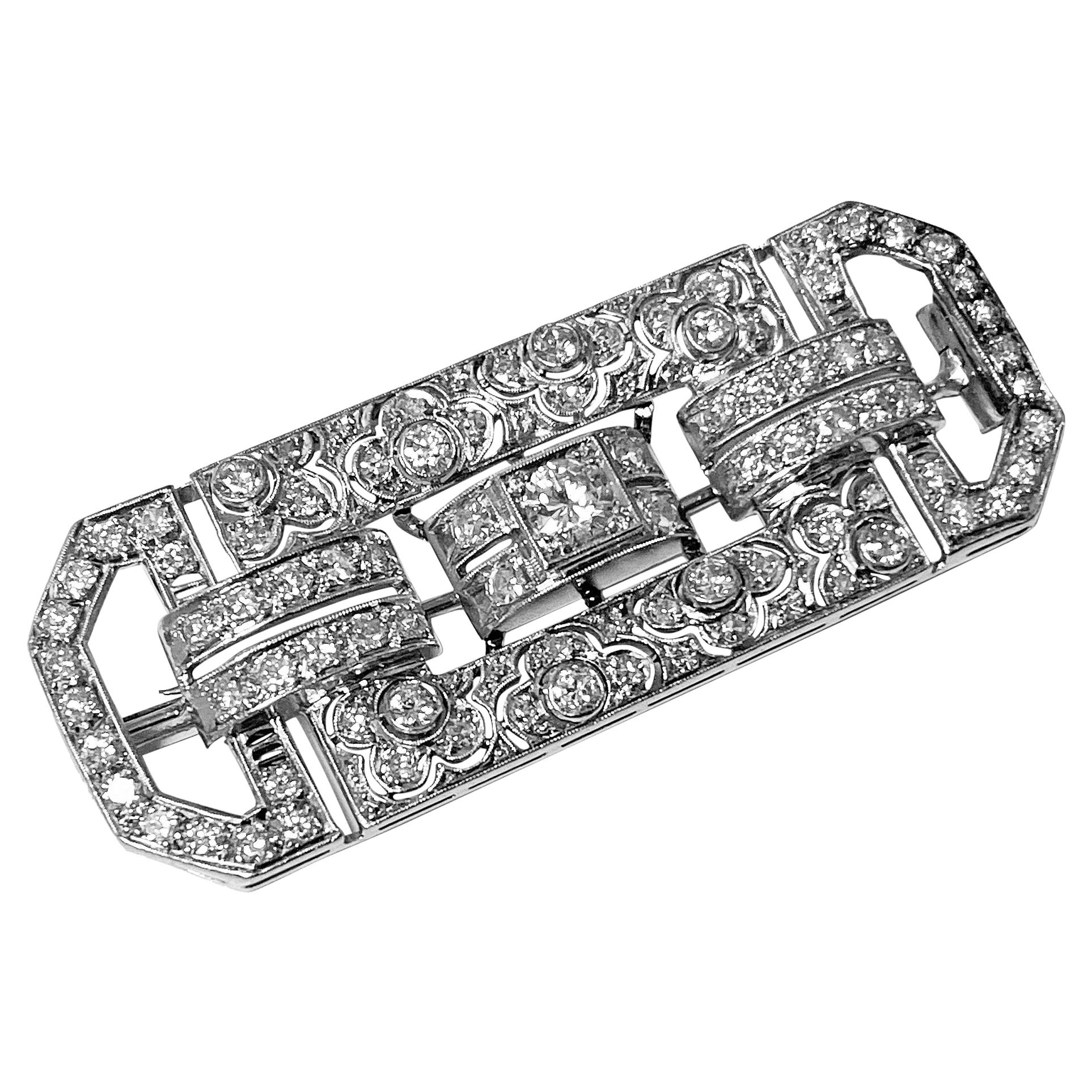 Art Deco Diamond and Platinum Brooch, C.1925