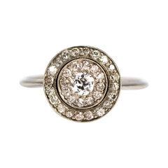 Art Deco Diamond and Platinum Cluster Ring