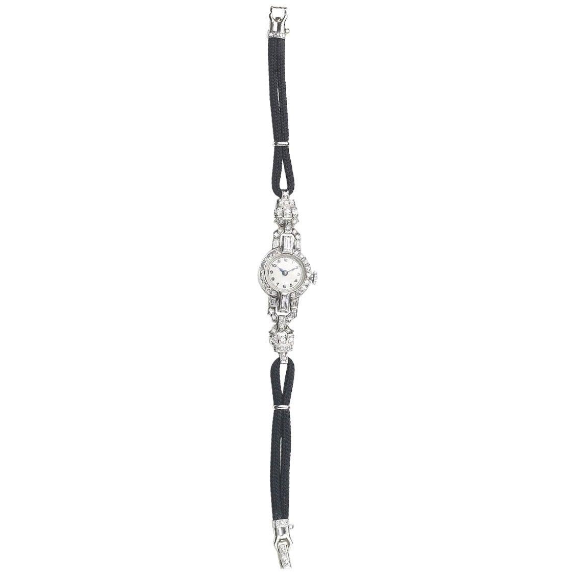 Art Deco Diamond and Platinum Cocktail Manual Wristwatch, circa 1930