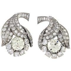 Art Deco Diamond and Platinum Flower Earrings