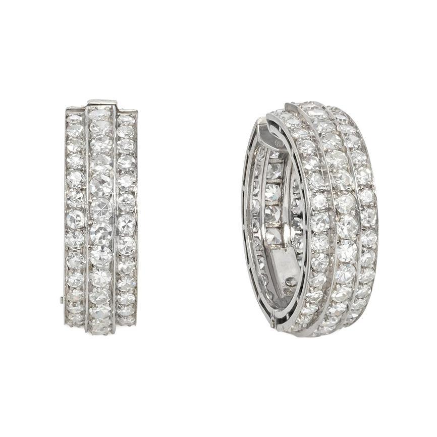 Art Deco Diamond and Platinum Hoop Earrings, Portugal