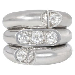 Art Deco Diamond and Platinum Industrialist Style Ring of Triple Stacked Design