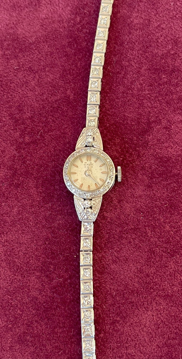 Art Deco Ladies Diamonds and Platinum Automatic Cocktail Wristwatch  For Sale 1