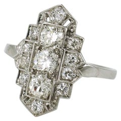 Art Deco Diamond and Platinum Lozenge Plaque Ring, 1940s