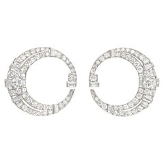 Art Deco Diamond and Platinum Mixed-Cut Bypass Hoop Earrings