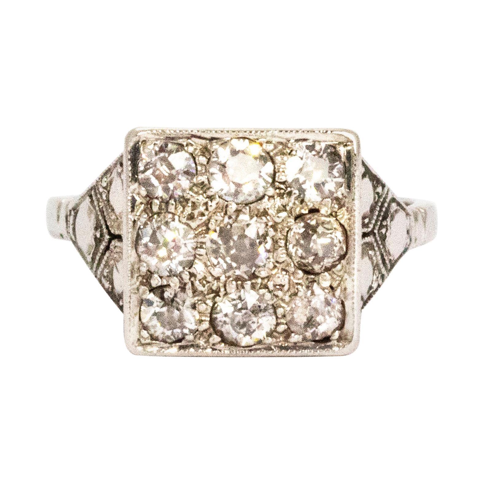 Art Deco Diamond and Platinum Panel Ring