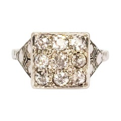 Art Deco Diamond and Platinum Panel Ring