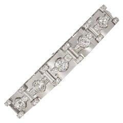 Art Deco Diamond and Platinum Polished Plaque Link Bracelet