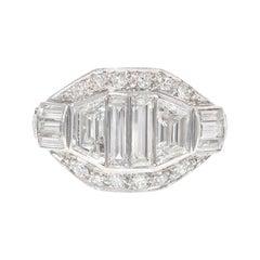 Art Deco Diamond and Platinum Ring Comprising Stones of Various Cuts