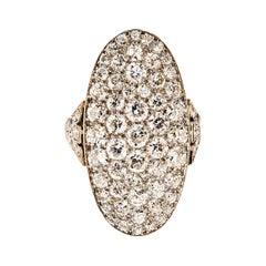 Art Deco Diamond and Platinum Shield Ring
